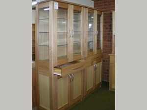 Kitchen Dresser - Glass Doors, Glass Shelves, With Cupboard and Drawer